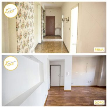 Ristrutturazione case totale trilocale entrata muri parquet sala 77mq