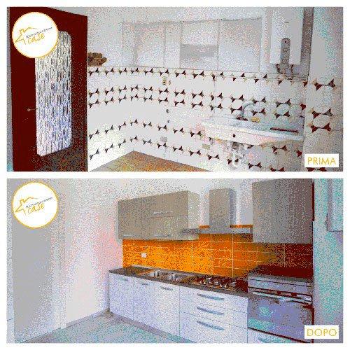 Ristrutturazione case appartamento cucina piastrelle 98mq