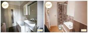 Umstrukturierung Interventionshäuser Badezimmer mit Dusche