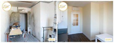 prima e dopo la ristrutturazione interno parquet cucina