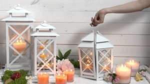 Laternen-Terrasse-Kerzen