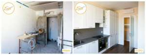 vor und nach der modernen Küchenrenovierung