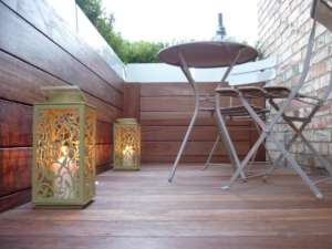 lanterns, wood and terrazzo