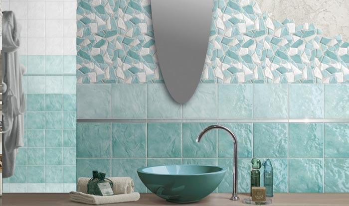 Remodelación de baños en mosaico verde casas