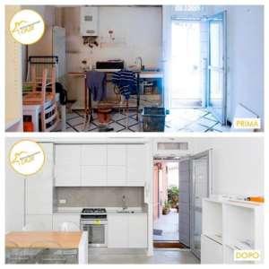 Renovierung von 58mq weißen Wohnküchenhäusern
