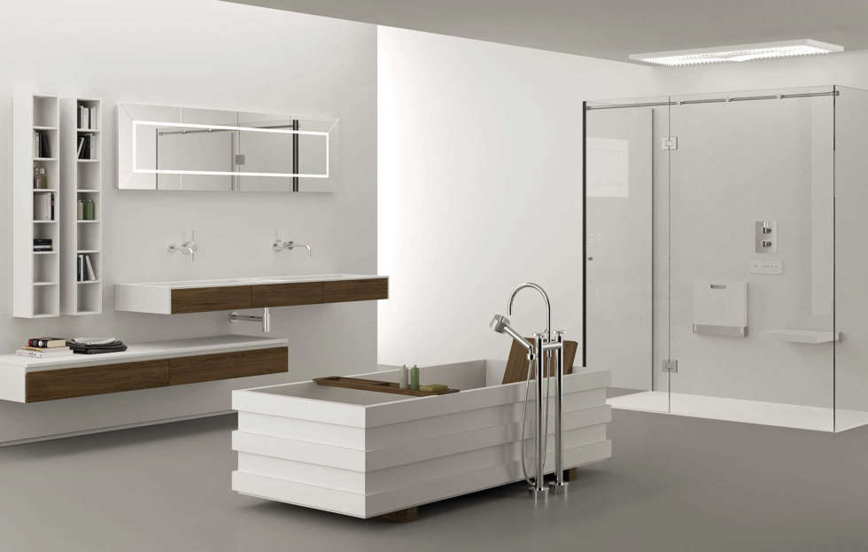 doccia moderna interno bianco