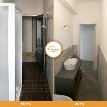Ristrutturazione case appartamento bagno marrone 75mq